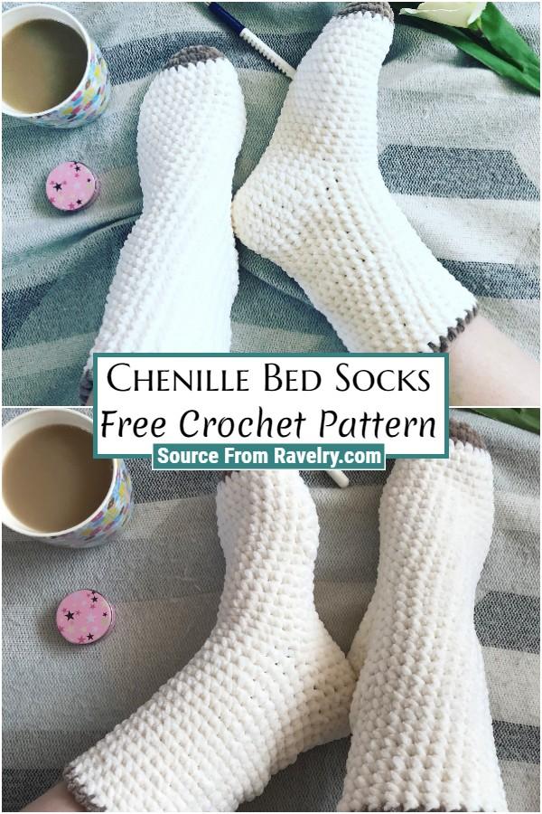 Free Crochet Chenille Bed Socks