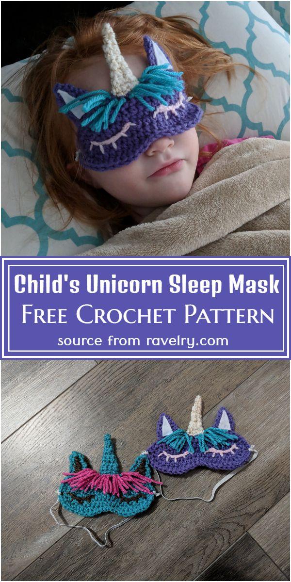 Free Crochet Child's Unicorn Sleep Mask Pattern