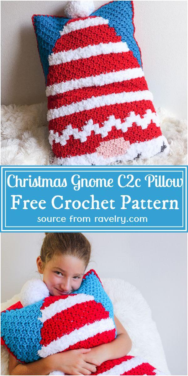 Free Crochet Christmas Gnome C2c Pillow Pattern