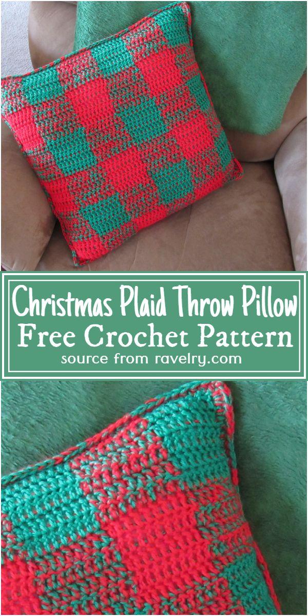 Free Crochet Christmas Plaid Throw Pillow Pattern