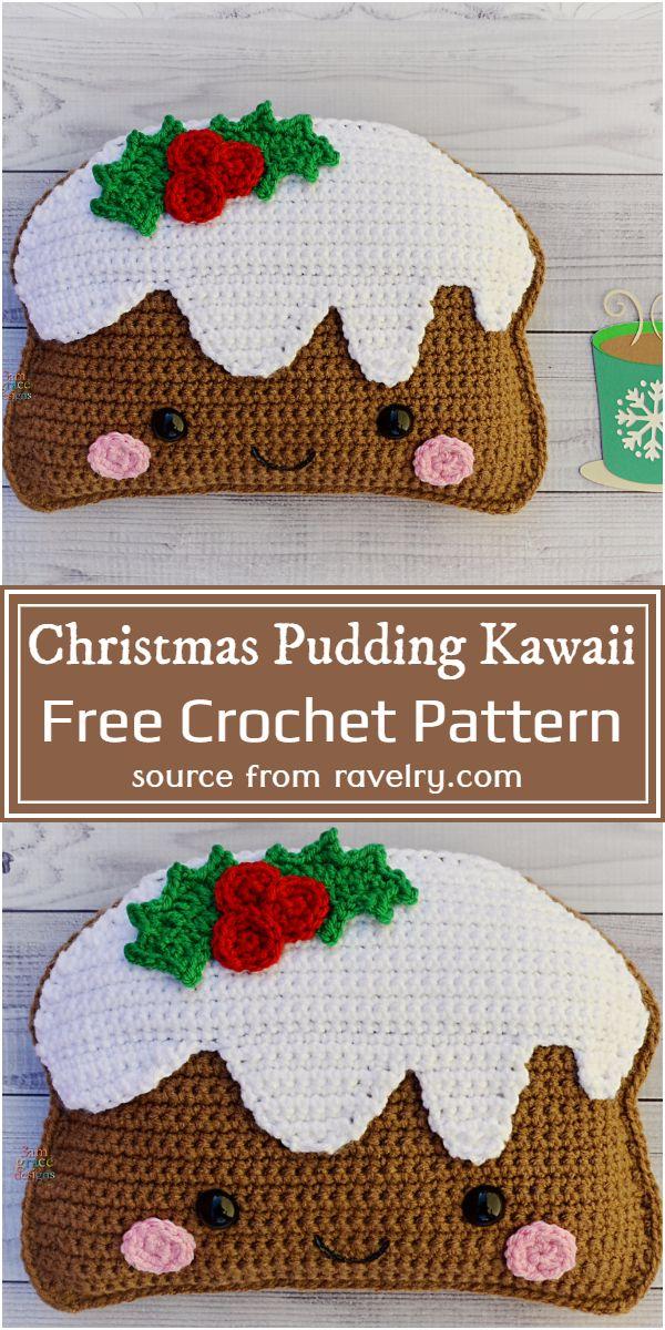Free Crochet Christmas Pudding Kawaii Pattern