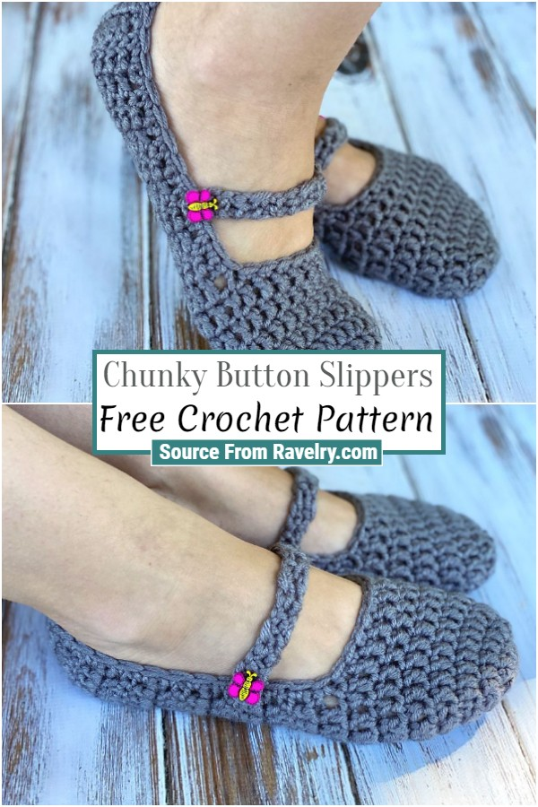 Free Crochet Chunky Button Slippers
