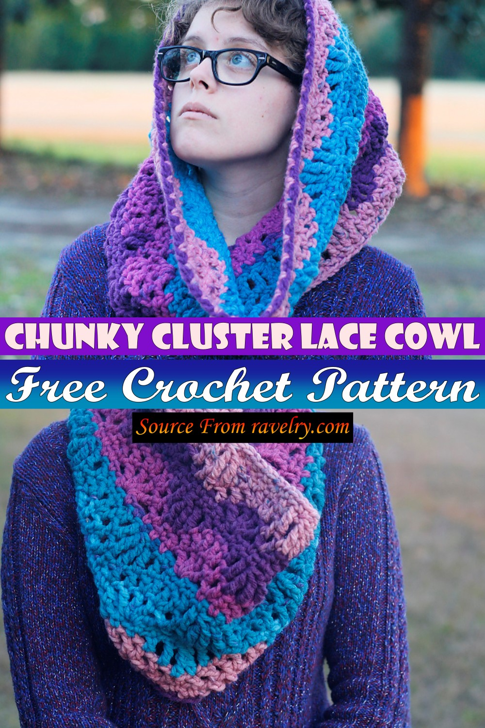 Free Crochet Chunky Cluster Lace Cowl Pattern