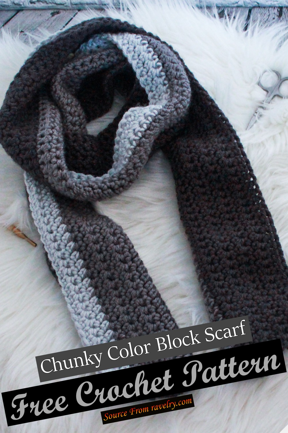 Free Crochet Chunky Color Block Scarf Pattern