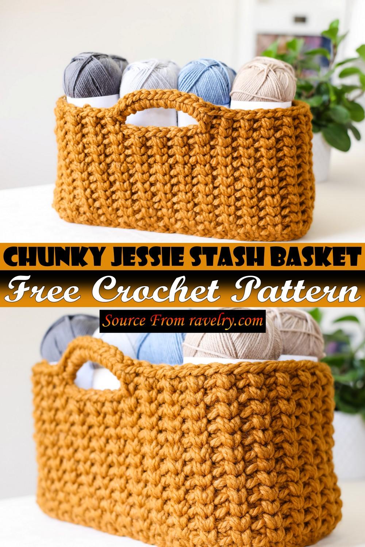 Free Crochet Chunky Jessie Stash Basket Pattern