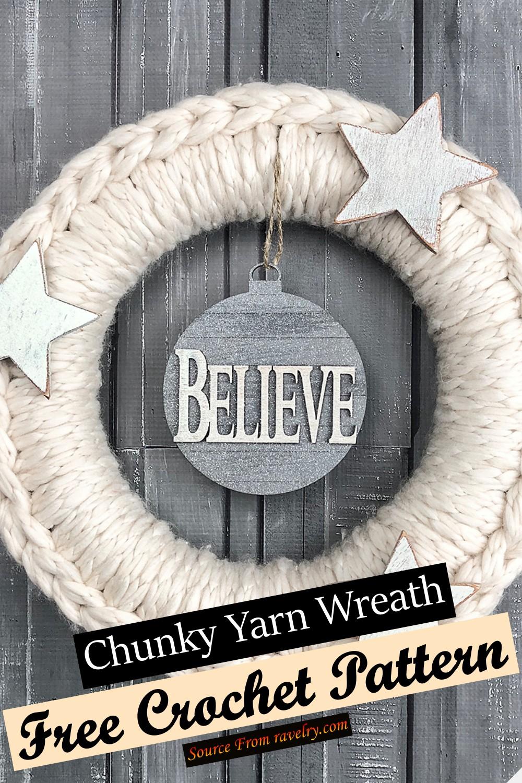 Free Crochet Chunky Yarn Wreath Pattern