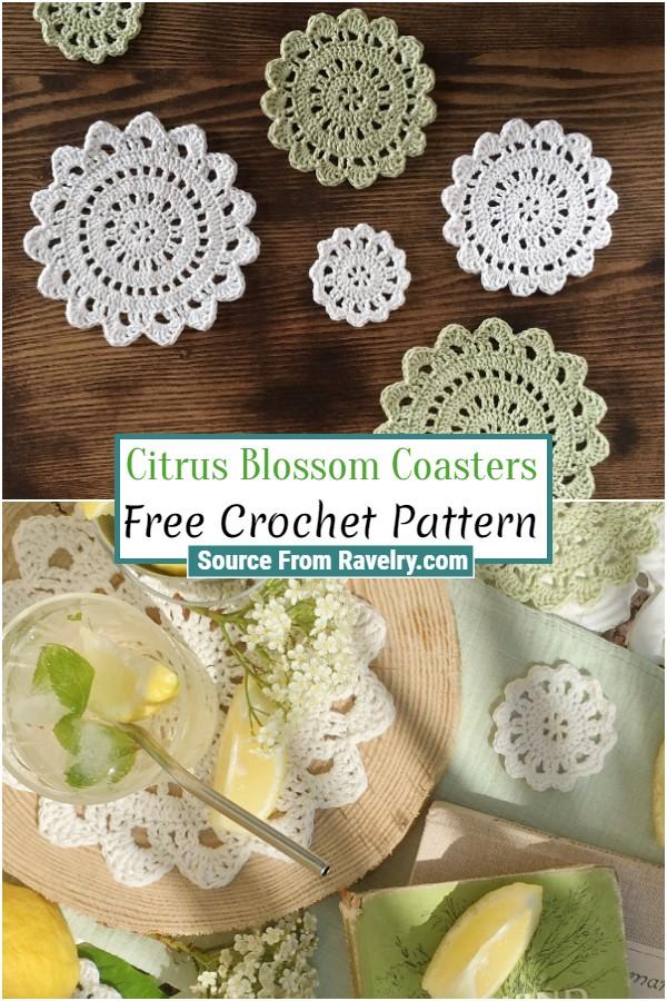 Free Crochet Citrus Blossom Coasters