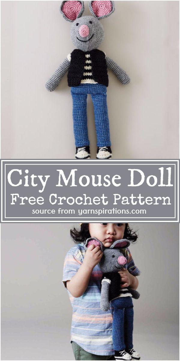 Free Crochet City Mouse Doll Pattern
