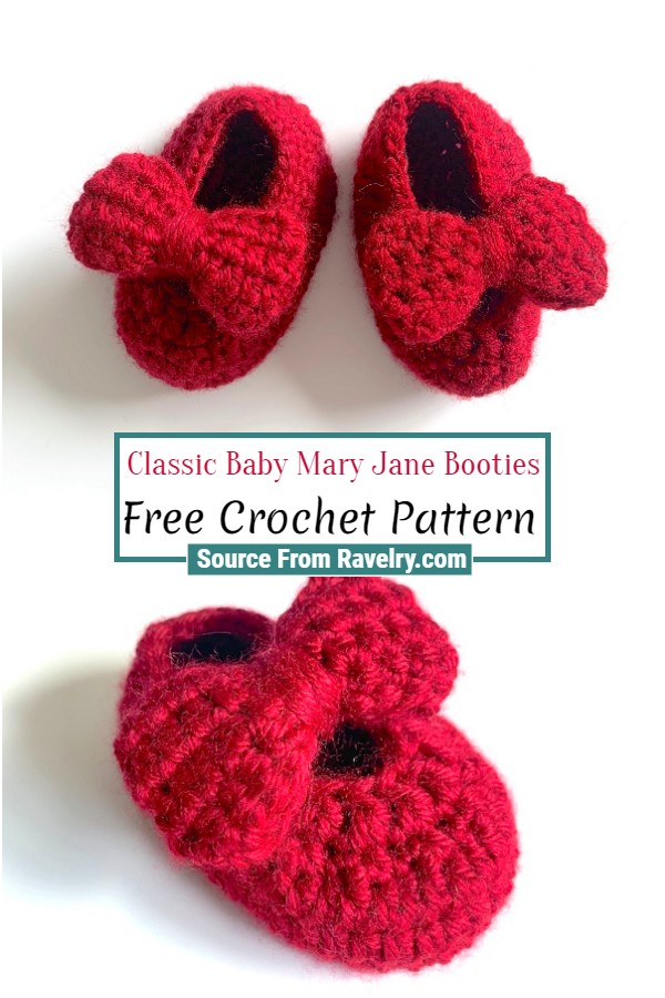 Free Crochet Classic Baby Mary Jane Booties
