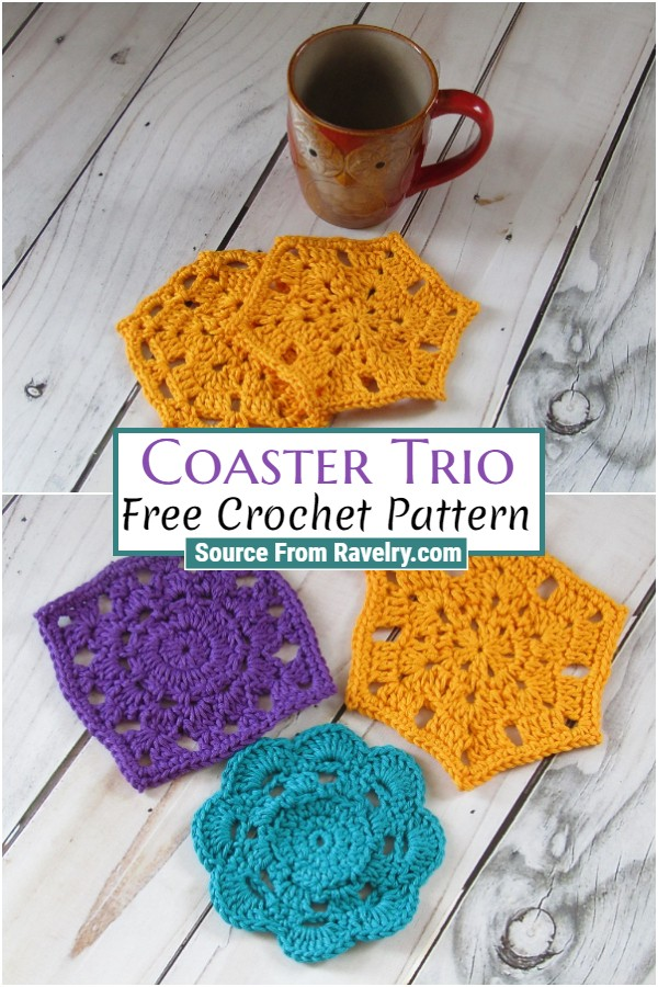 Free Crochet Coaster Trio