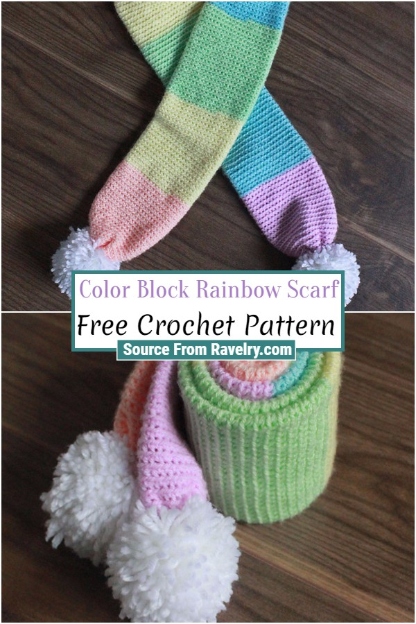 Free Crochet Color Block Rainbow Scarf