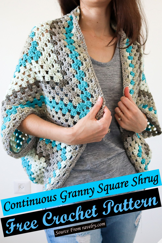 Free Crochet Continuous Granny Square Shrug Pattern