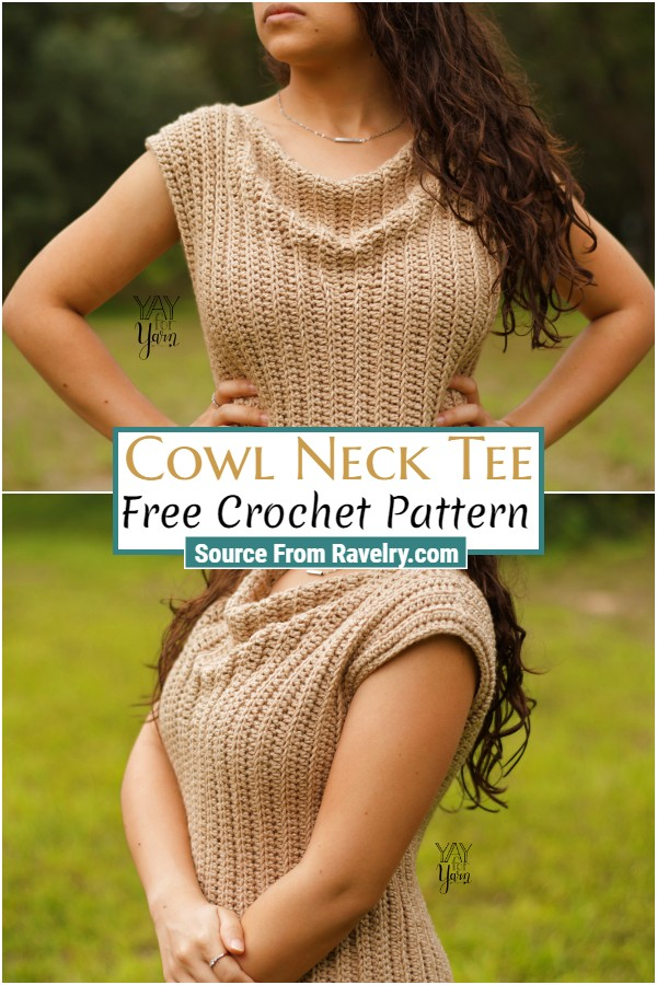 Free Crochet Cowl Neck Tee