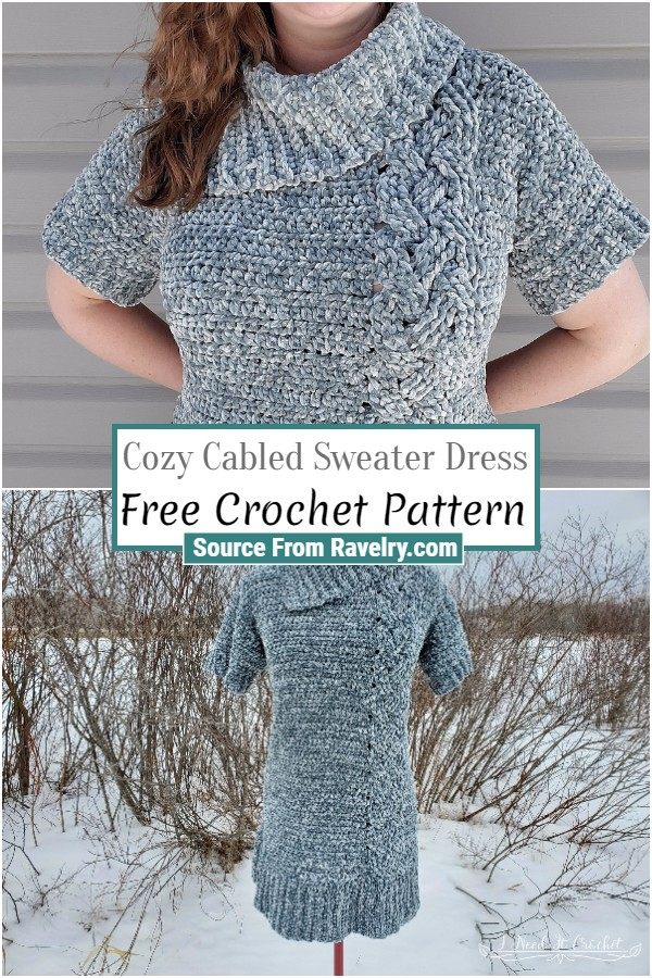 Free Crochet Cozy Cabled Sweater Dress