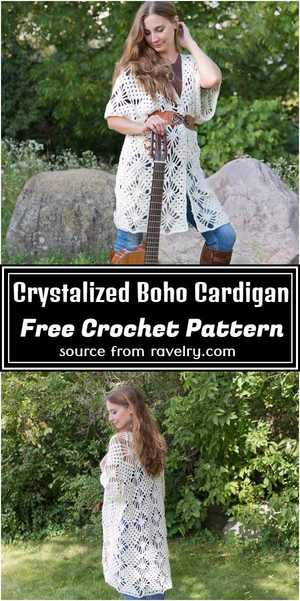 Free Crochet Crystalized Boho Cardigan Pattern