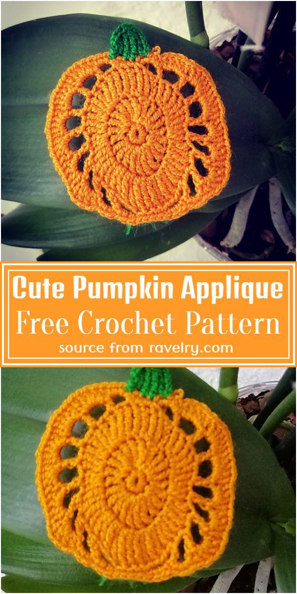 Free Crochet Cute Pumpkin Applique Pattern