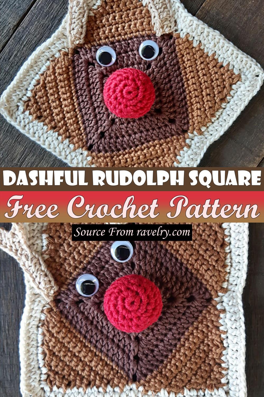 Free Crochet Dashful Rudolph Square Pattern
