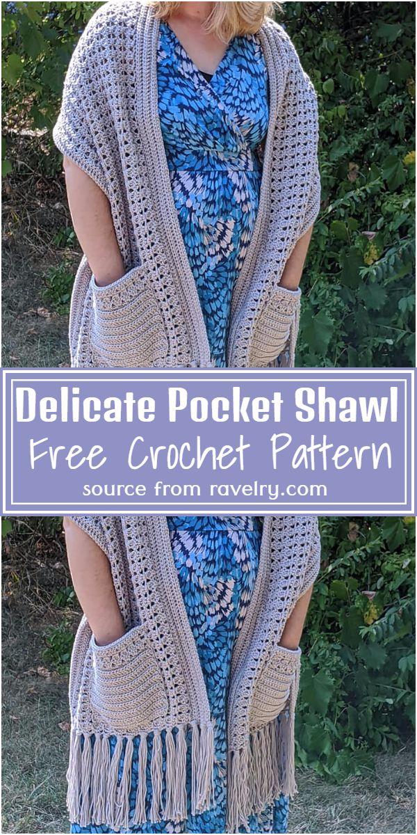 Free Crochet Delicate Pocket Shawl Pattern