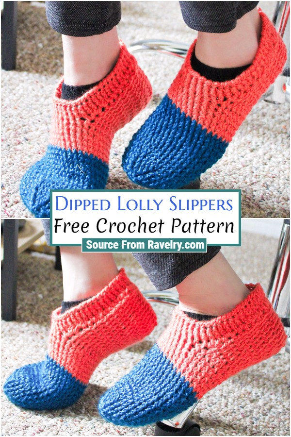 Free Crochet Dipped Lolly Slippers