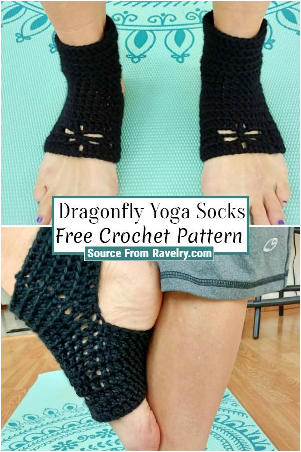 Free Crochet Dragonfly Yoga Socks