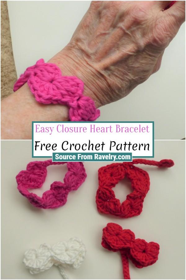 Free Crochet Easy Closure Heart Bracelet
