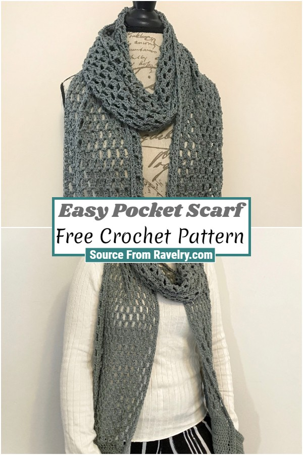 Free Crochet Easy Pocket Scarf