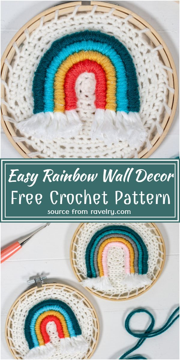 Free Crochet Easy Rainbow Wall Decor Pattern