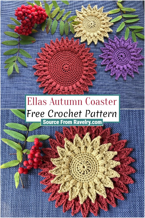 Free Crochet Ellas Autumn Coaster