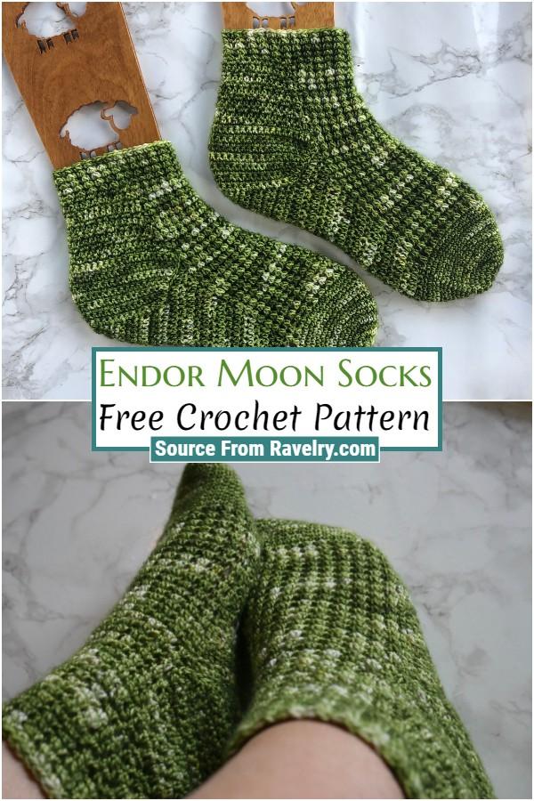 Free Crochet Endor Moon Socks