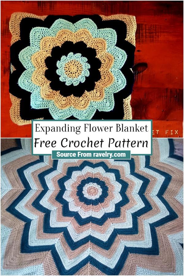 Free Crochet Expanding Flower Blanket