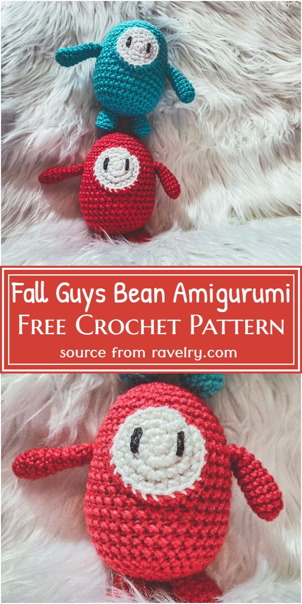 Free Crochet Fall Guys Bean Amigurumi Pattern