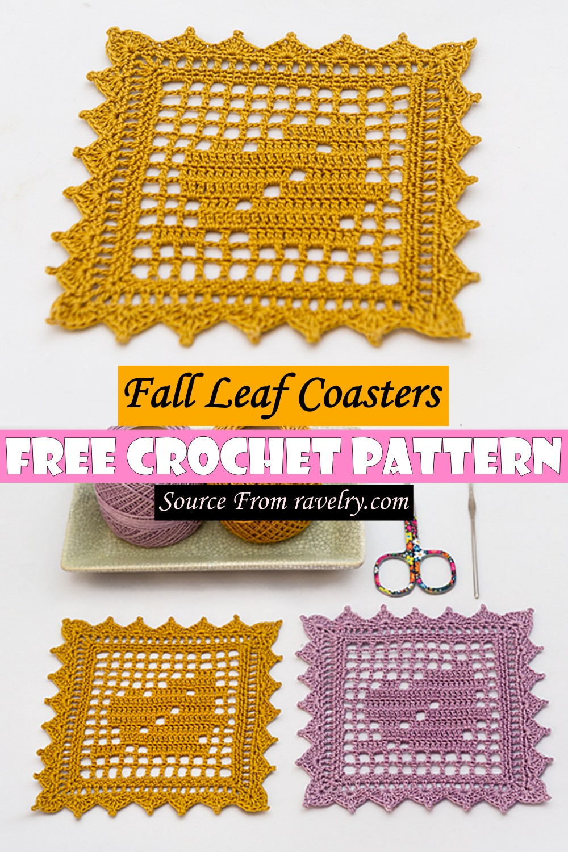 Free Crochet Fall Leaf Coasters Pattern