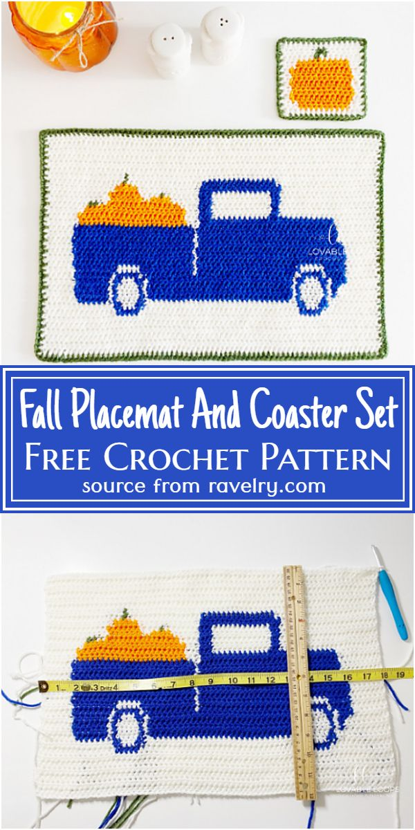 Free Crochet Fall Placemat And Coaster Set Pattern