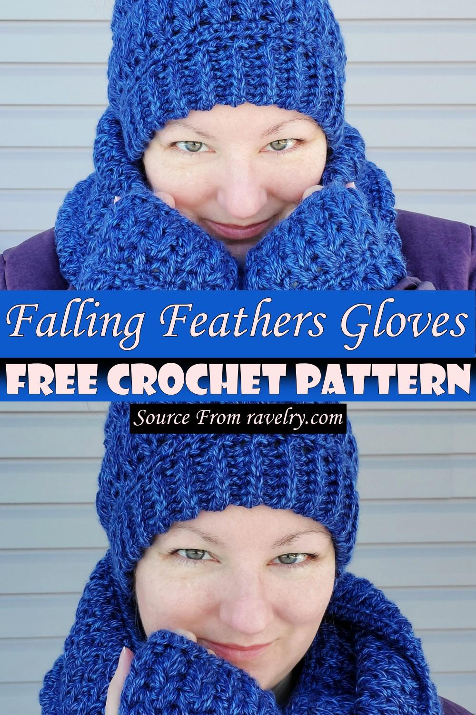 Free Crochet Falling Feathers Gloves Pattern