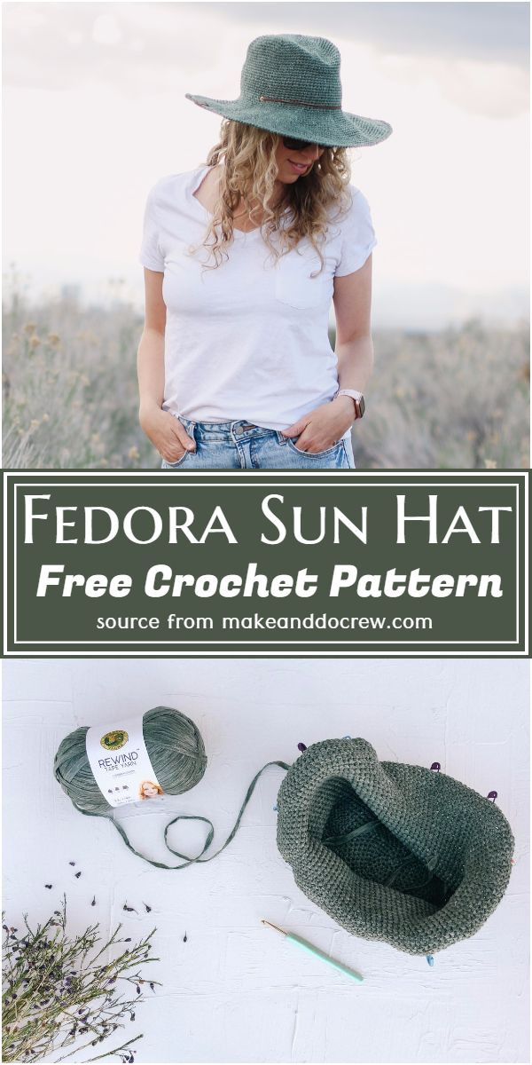 Free Crochet Fedora Sun Hat Pattern
