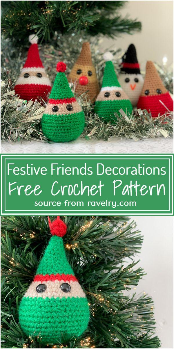 Free Crochet Festive Friends Decorations Pattern