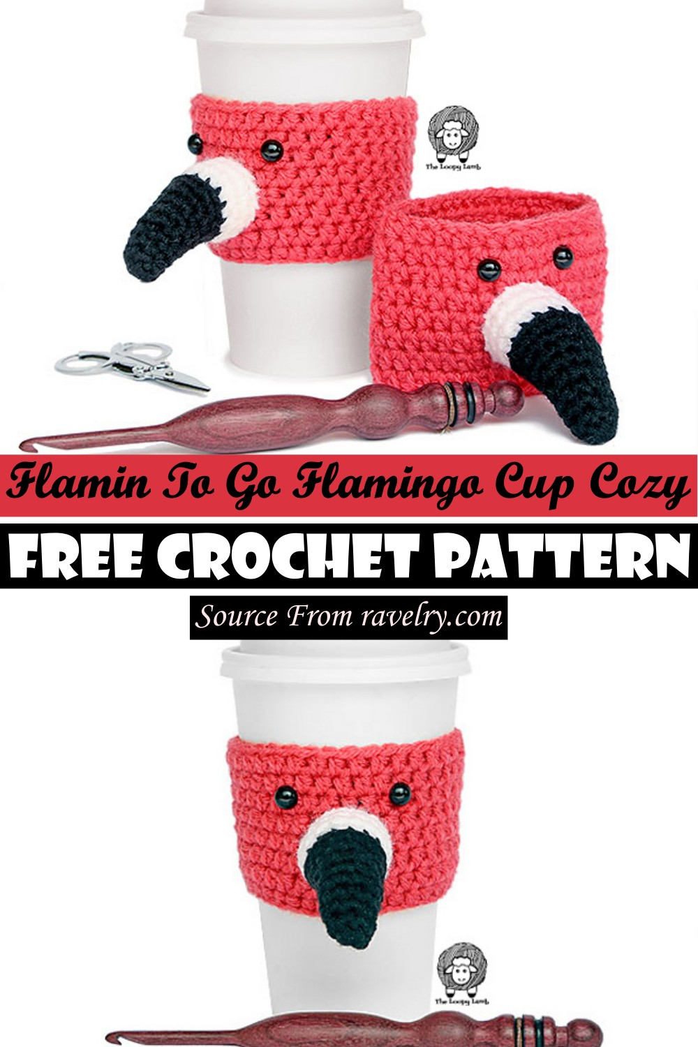 Free Crochet Flamin To Go Flamingo Cup Cozy Pattern