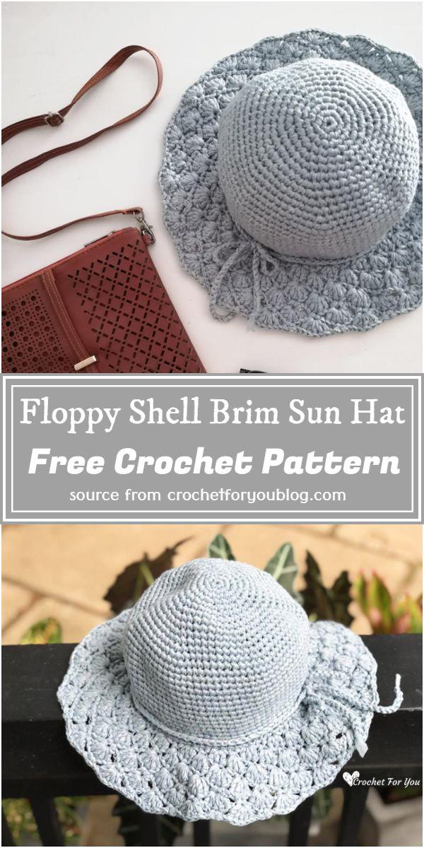 Free Crochet Floppy Shell Brim Sun Hat Pattern