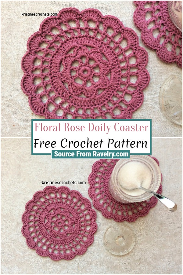 Free Crochet Floral Rose Doily Coaster