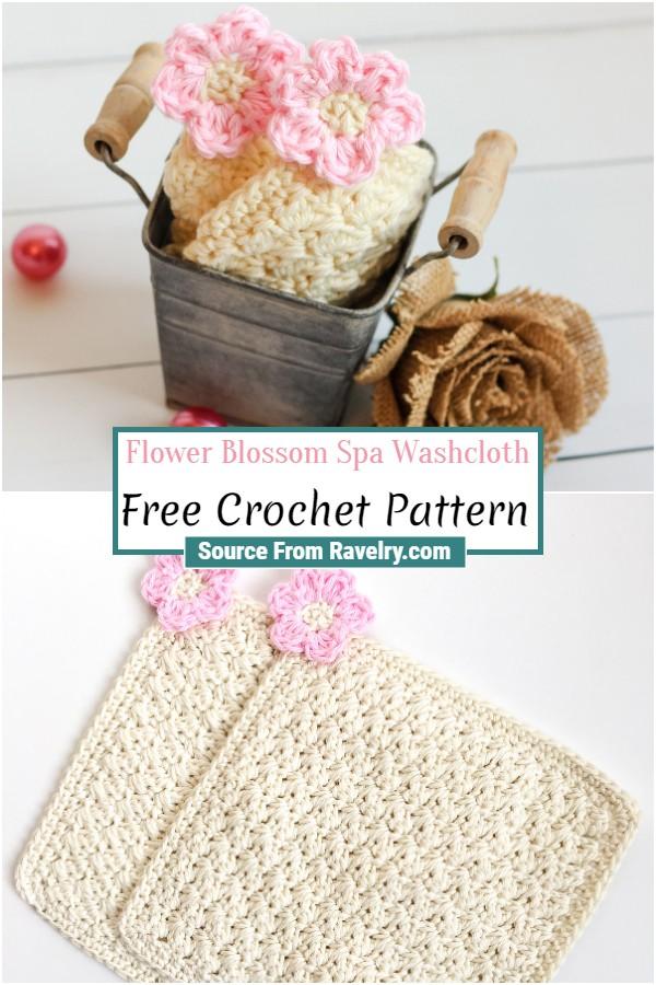 Free Crochet Flower Blossom Spa Washcloth