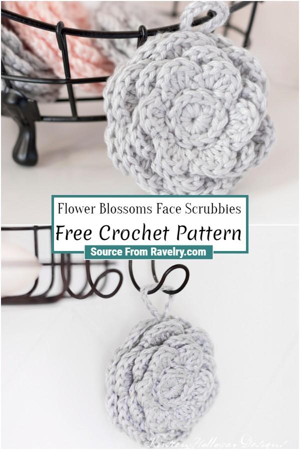 Free Crochet Flower Blossoms Face Scrubbies