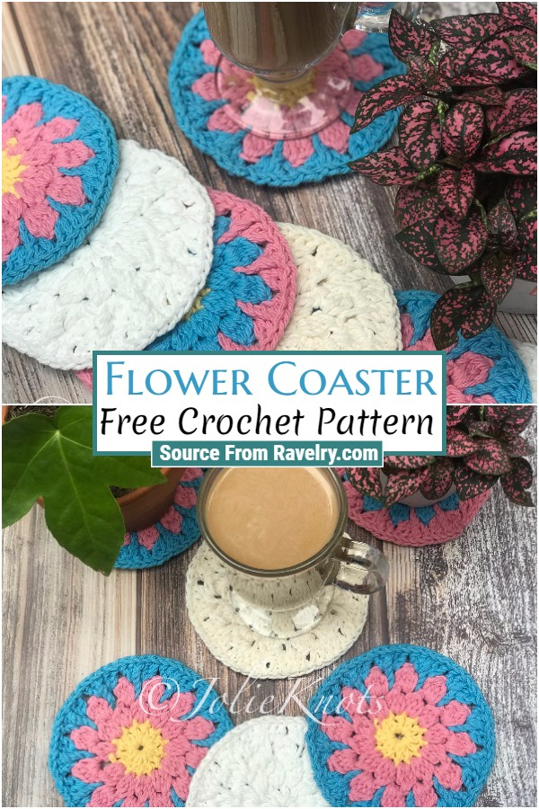 Free Crochet Flower Coaster