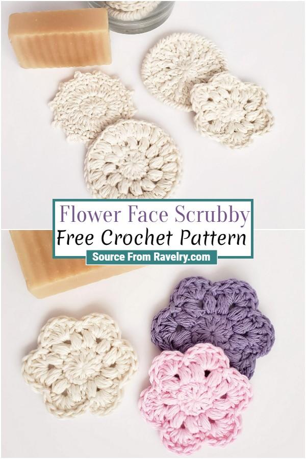 Free Crochet Flower Face Scrubby