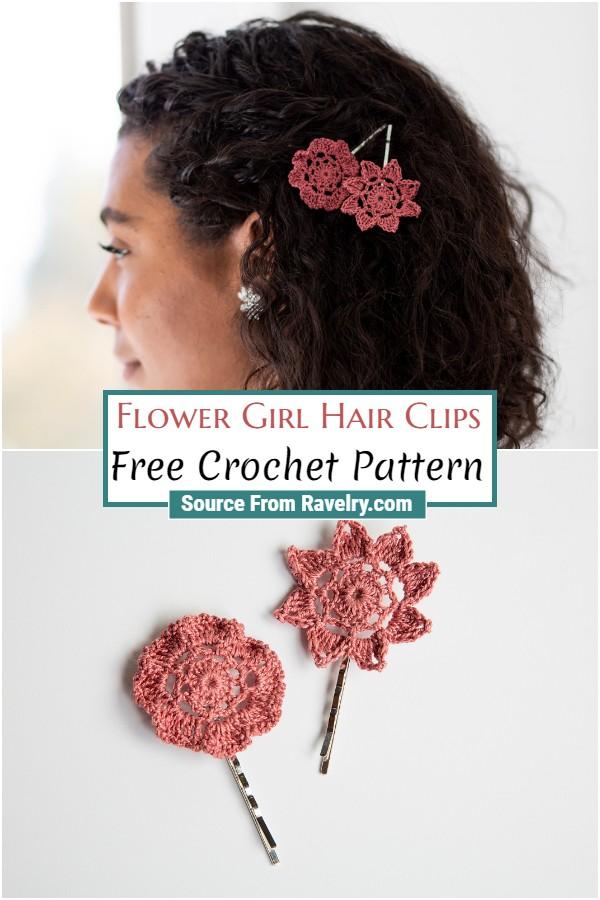Free Crochet Flower Girl Hair Clips