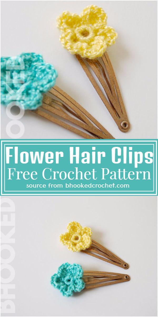 Free Crochet Flower Hair Clips Pattern