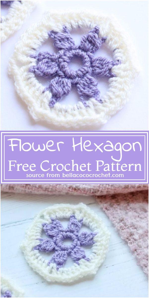 Free Crochet Flower Hexagon Pattern