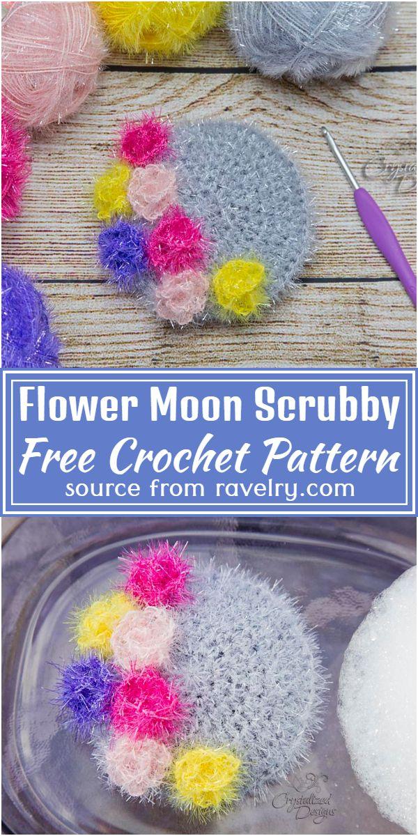 Free Crochet Flower Moon Scrubby Pattern