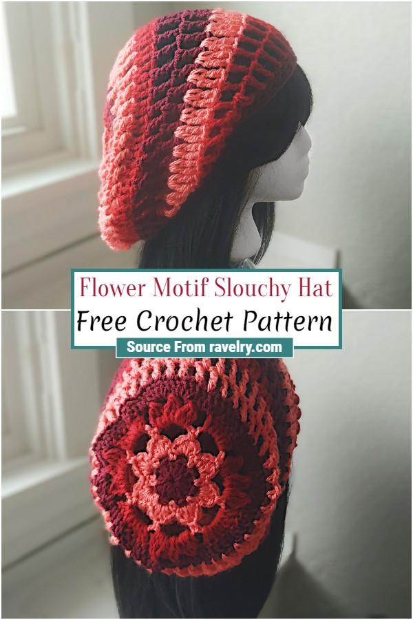 Free Crochet Flower Motif Slouchy Hat