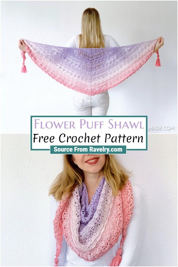 Free Crochet Flower Puff Shawl