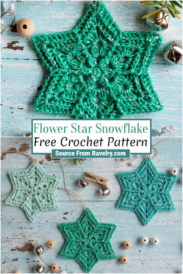 Free Crochet Flower Star Snowflake